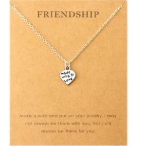 Made With Love Heart Friendship Silver Necklace
